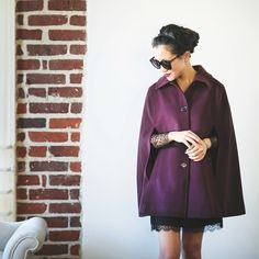 Autumn colors + Red Riding Hood vibe = burgundy cape!