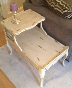 Chippy Side Table With Personality $75.00. Vintage French Provincial Two  Tier End Table. Aged