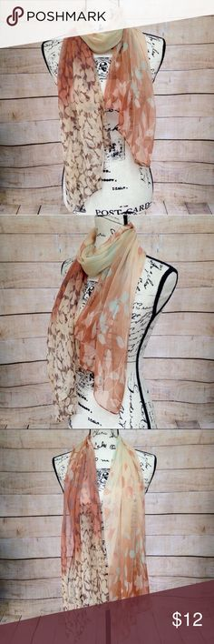 "Beige Burnt Orange Brown and Blue Flowery Scarf Lightweight flowery scarf featuring beige, brown, burnt orange, cream, and light blue colors. 100% silk feeling polyester. Measurements: 20"" x 62"". NWT. Accessories Scarves & Wraps"
