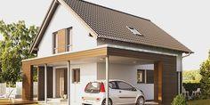 Fertighaus Einfamilienhaus: NEO 200 Außenansicht Eingang mit Carport