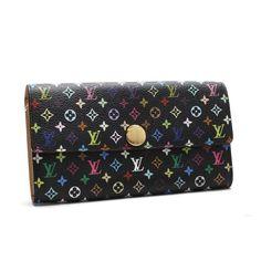 Louis Vuitton Porte Monnaie Credit Monogram Multicolore Wallets Black Canvas M60005
