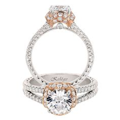 Jack Kel�ge. Click Here to View a Live Video of This Ring��18k white gold and 18k rose gold engagement ring with round white diamonds, 0.75 carats total weight. Center stone not included.
