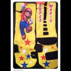 Limited Editions- Only 25 were made. Get them now at www. Funky Socks, Cool Socks, Awesome Socks, Awesome Stuff, Nike Elite Socks, Nike Socks, Custom Socks, Sock Shoes, Super Mario