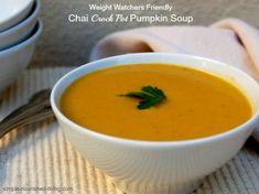 Easy Chai Crock Pot Pumpkin Soup, adapted from Slow Cooker Revolution 2, creamy and delicious with 142 calories and 4 Weight Watchers Points Plus