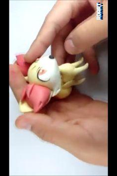 The cute little Fennekin from pokemon in clay form
