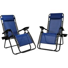 Yanni Outdoor Zero Gravity Lounge Chair Beach Patio Pool Lawn Deck Yard Folding Recliner with Pillow and Cup/Phone Holder, Set of 2 PCS -Blue. Durable textaline fabric suspended by double bungee system.High strength and durable powder coated steel frame. Relax with the smooth recline function that locks in any position, adjustable headrest/lumbar support. Dual finger tip locking system.Long lasting outdoor grade fabric (textilene 2X1). Folds down to only 6.3 inches wide,Folds down to only...