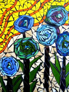 flowers mosaic by kat gottke Mosaic Artwork, Mirror Mosaic, Mosaic Glass, Glass Art, Stained Glass, Mosaic Tile Designs, Mosaic Patterns, Mosaic Tiles, Mosaic Crafts