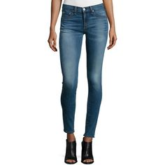 rag & bone/JEAN Mid-Rise Skinny Jeans ($225) ❤ liked on Polyvore featuring jeans, clean euston, skinny fit jeans, super skinny jeans, faded jeans, fitted jeans and frayed jeans
