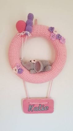 Unique baby decor - Baby girls room decoration - nursery wreath decor - free P&P, Personalised baby girl nursery decoration. Unique baby decor - Baby girls room decoration - nursery wreath decor - free P&P, Knitting Baby Girl, Baby Girl Crochet Blanket, Crochet Baby Toys, Knitted Baby Blankets, Baby Girl Blankets, Baby Kranz, Baby Dekor, Crochet Wreath, Diy Bebe