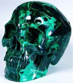 Large Custom Artistic Carving & Handcrafted Stone Malachite Skull