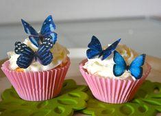 Blue Edible Butterflies - Edible Butterflies for Cake and Cupcakes - Edible Cupcake Decoration. via Etsy.
