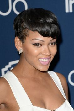 Actress Meagan Good attends the 2014 InStyle and Warner Bros. Annual Golden Globe Awards Post-Party on January 2014 in Beverly Hills, California. Meagan Good Short Hair, Short Sassy Hair, Short Hair Cuts, Pixie Cuts, Love Hair, Great Hair, Gorgeous Hair, Black Women Short Hairstyles, Cool Short Hairstyles