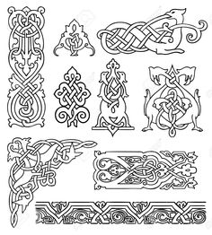 9932546-antique-old-Russian-ornaments-vector-set-Stock-Vector-celtic-pattern-russian.jpg (1170×1300)