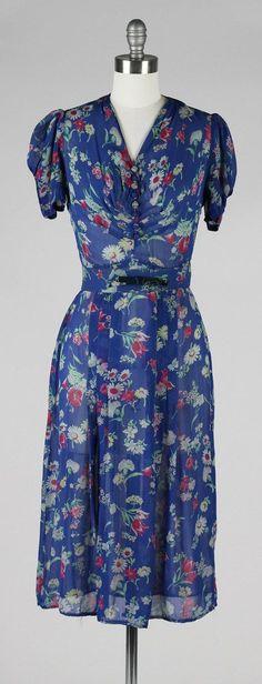 vintage 1940s dress . blue silk crepe . 40s sheer dress