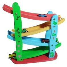 Wooden Drop Race Car Gliding Car Car Race Track Toy Set Educational Toy $36