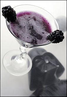 """""""The Dark Invader"""", but I'll call it """"The Black Cat"""".  Blackberries, pineapple juice, vanilla syrup, and I'll add some sparkling water."""