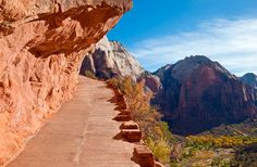 ANGEL'S LANDING, ZION NATIONAL PARK Utah 4.8 miles:  hike in Zion's main red rock canyon, this 2.4-mile trail ends at the top of Angel's Landing, an impressive 1,488-foot rock formation with one of the most stunning 360-degree views in the West.