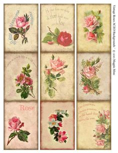 ACEO Hintergrund - sofort-Download - im Alter von Papier - Rosen - Rosen Vintage Collage Sheet - Digital Download - Druckversion
