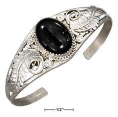 Sterling Silver Fancy Large Oval Simulated Onyx Cabochon Cuff Bracelet