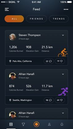 Sport Tracking App - Feed