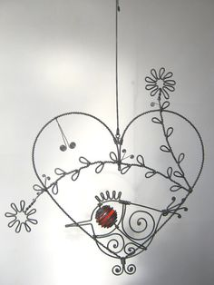 Wire Heart Sculpture With A Bird And Two Flowers by MyWireArt, $33.00