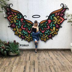 Image may contain: 2 people Graffiti Wall Art, Street Art Graffiti, Wall Murals, Art Sketches, Art Drawings, Mural Cafe, Diy Wall Painting, Pop Art Wallpaper, Wall Drawing