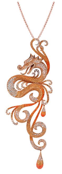 GABRIELLE'S AMAZING FANTASY CLOSET | VanDerBauvede2 Dragon Pendant of White Diamonds mounted in Yellow Gold