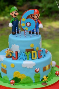 Birthday Cake For Husband Love Baby Shower Super Ideas - birthday Cake White Ideen Mario Birthday Cake, Birthday Cake For Husband, Super Mario Birthday, Boy Birthday, Birthday Cakes, Birthday Ideas, Super Mario Torte, Bolo Super Mario, Mario Bros Cake