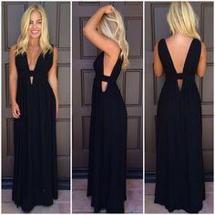 Black Triple V Plunge Maxi Dress | USTrendy