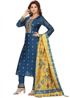 #navy #blue #embroidered #readymade #salwar #kameez #traditional #indian #salwar #suit #indianfashion #party #wear #collection #eid #2021 #ootd Organza Saree, Silk Dupatta, Readymade Salwar Kameez, Chanderi Suits, Straight Cut Pants, Silk Pants, Pakistani Suits, Navy Blue Color, Yellow Fabric