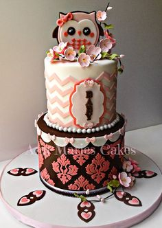 Pink and Brown Chevron Owl - by AnnMariesCakes @ CakesDecor.com - cake decorating website