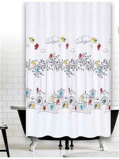Madarak zuhanyfüggöny Curtains, Shower, Bathroom, Prints, Rain Shower Heads, Washroom, Blinds, Full Bath, Showers