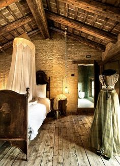 This lovely old room reminds me of Paul Peel ~ 36 Rustic Barns Bedroom Design Ideas