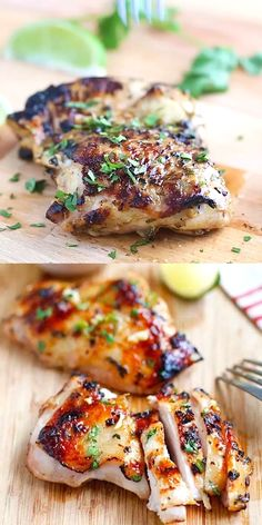 Chili Lime Chicken - the most delicious chicken you ve ever made Marinated with chili and lime and grill to perfection the chicken is so moist and juicy chicken grilling bbq spring summer dinner Best Grilled Chicken Recipe, Easy Chicken Recipes, Recipe Chicken, Baked Chicken, Shrimp Recipes, Health Chicken Recipes, Mexican Grilled Chicken, Grilled Pesto Chicken, Hawaiian Chicken Kabobs