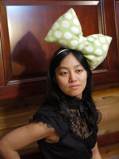 Polka Dot Lime Green and White Bow Tie Headband Adjusted slightly to the left or right, this lightweight hand made bow is very cute for anyone.    Can be made in any solid colour as well. Contact