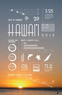 Why? Simple execution - image and flat graphics over top. Great way to bring a year in the life of a serving personnel to life eg. The stats of a boatswain, all the places he's travelled, how many km's sailed etc Infographic / Hawaii on Behance