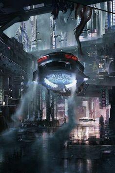 setting inspiration Cybercity by Bo Zonneveld Cyberpunk Aesthetic, Cyberpunk City, Retro Futuristic, Landscape Concept, Fantasy Landscape, Vaporwave, Sf Wallpaper, Space Opera, Sci Fi City