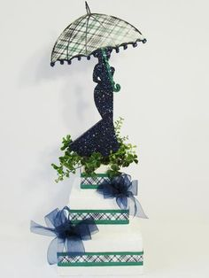 bridal shower centerpiece - tartan plaid - bride - Designs by Ginny