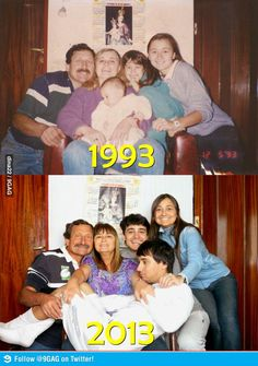 then and now family picture. @Christina & Shim is this what is to come?! hahahhahah
