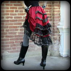 Scarlet Red Steampunk Pirate Skirt or purple by TalismanaDesigns