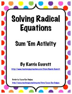 Worksheets Radical Equation Review Worksheet Match Up equation and activities on pinterest solving radical equations sum em activity algebra