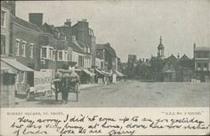 View across St Neots Market Square looking towards the Corn Exchange in 1904