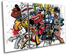 Grafitti Art Illustration TREBLE CANVAS WALL ART Picture Print VA