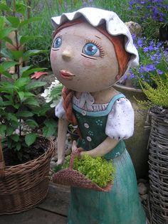 Tonička  65 cm!(na objednávku) Ceramic Art, Garden Sculpture, Clay, Diy Crafts, Ceramics, Dolls, Outdoor Decor, Vases, Planters