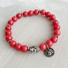 Buddha Silver Bracelet Om Bracelet red jade by TheZenJewelry