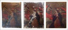 """""""Asunción de la Virgen"""", pintura cusqueña de pequeño formato, colección privada. Restauración año 2014. Anverso inicial, proceso de intervención y anverso final. Fotografía G. Reveco, edición E. Ide e investigación F. Castillo"""