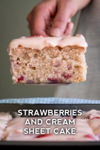 Strawberry Frosted Strawberry Sheet Cake