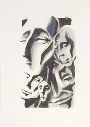 """""""Fusion 14"""" von Matthias Triet   Acryl auf Aquarellpapier   24 x 34 cm   www.einfachKunst.ch   Art   Basel   Schweiz"""