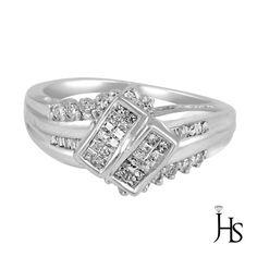 Women's 14K White Gold 0.65 CT 52 Round Princess Baguette DiamondEngagement Ring…