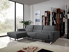 Divani Casa Becket Modern Dark Grey Fabric Sectional Sofa : laguna sectional sofa - Sectionals, Sofas & Couches
